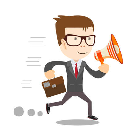 peeve: Boss, businessman or manager.A man in a suit shouting through a loudspeaker. Illustration, vector .