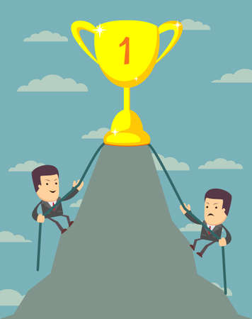 Businessman is climbing to get the prize , Successful man , Business concept - vector illustration