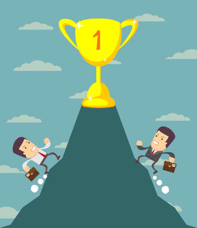 runing: Businessman is runing to get the prize , Successful man , Business concept - vector illustration