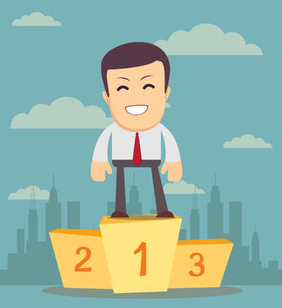 Businessman winner standing in first place on a podium he celebrates his victory vector illustration