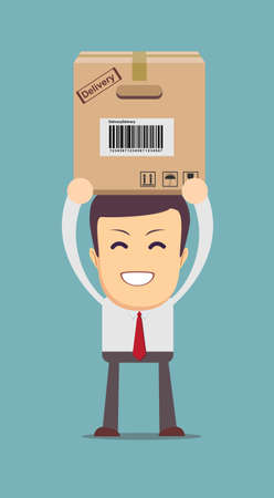 smiling cartoon delivery service man with cardboard box . vector illustration