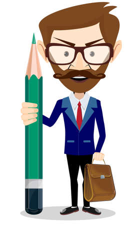 Handsome bearded businessman with green pencil . Stock vector illustration