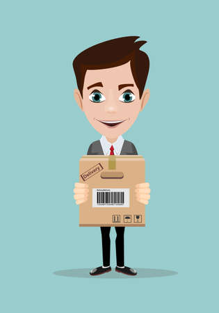 delivery service man with cardboard box vector illustration isolated on background. Illustration