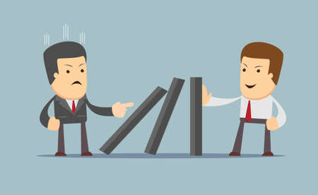 resilient: Successful strong confident businessman stopping domino effect. Business, problem, solution, crisis and risk concept. vector illustration