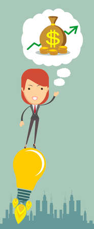 money flying: Businesswoman dreaming about money flying on the idea - rocket tube. Vector flat illustration