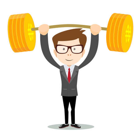 man lifts up heavy barbell with dollar sign. 向量圖像