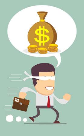 Blindfolded businessman running to find money Illustration