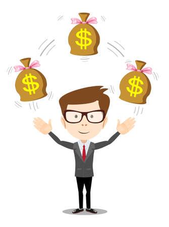 Homme d'affaires avec sac d'argent, illustration vectorielle
