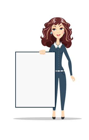 a1: Woman holding a blank A1 poster Illustration