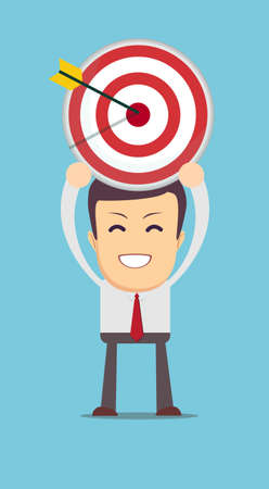 successful businessman aiming target with arrow Illustration