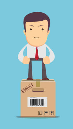 businessman, manager or logistic stands on box.