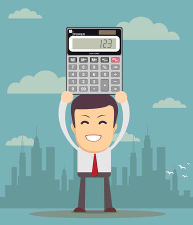 accountancy: accountant is showing an electronic calculator Illustration