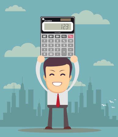 Le comptable affiche une calculatrice électronique Vecteurs