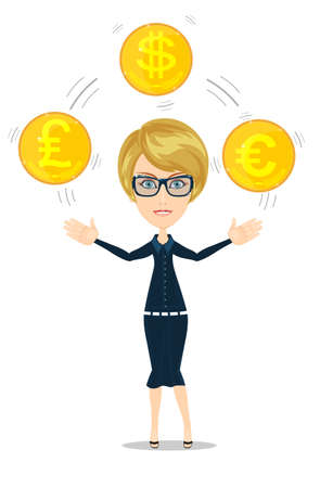 traders: businesswoman juggling with gold coins Illustration