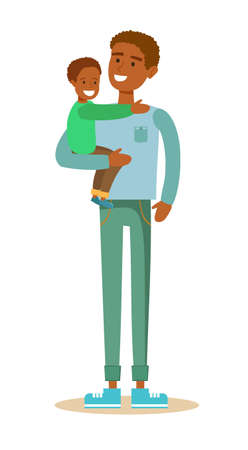 absentee: Black father and his child. Illustration