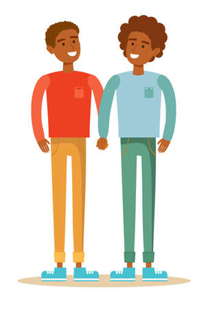 homosexual love. Gay couple with hand in hand. Illustration