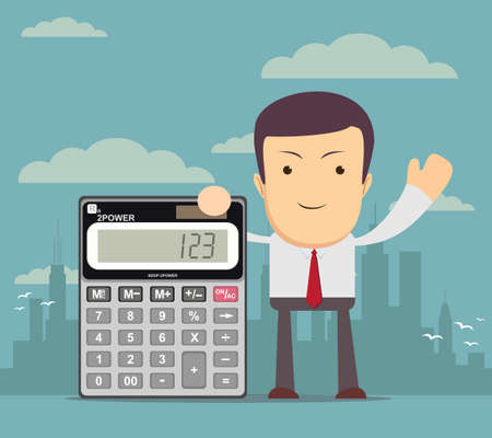 Businessman or accountant is showing a calculator Illustration