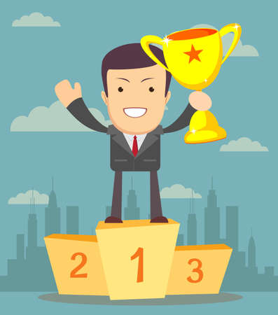 Businessman holding winners cup Illustration