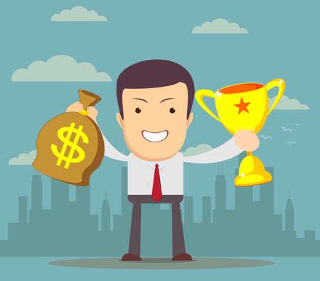 Homme d'affaires tenant la coupe du vainqueur et de l'argent. Illustration vectorielle stock pour l'affiche, carte de voeux, site Web, annonce, présentation d'affaires, conception de la publicité.