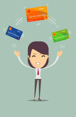 creditcards: Business woman with credit card to pay