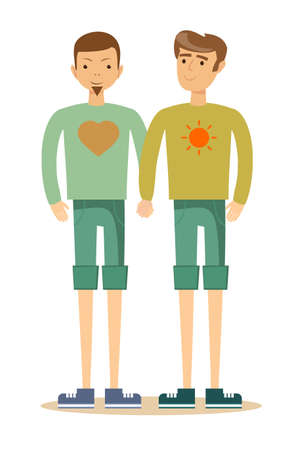 Gay couple with hand in hand Illustration