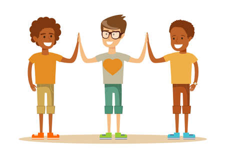 Mixed-race Pupils giving each other a high five Illustration