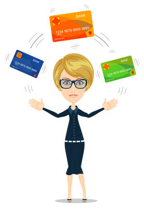 Business woman with credit card to pay