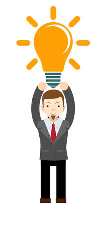 A Caucasian businessman with beard has a bright idea for marketing strategy with a bulb on his head. Human intelligence concept. Stock flat vector illustration.