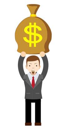 Businessman holding money bag.