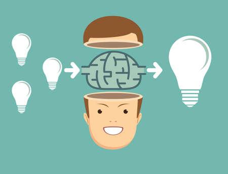 businessman Think about ideas. Illustration