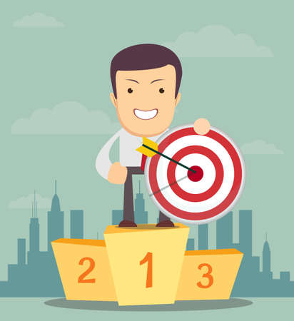 Successful manager or businessman. A man in a suit stand on a pedestal and hold a target with arrow. Vector