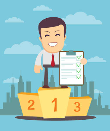 validated: Young Man Holding a Document in Which All Approved, Validated, Agreed. The clipboard Put the Green Check Mark, Flags. Vector . Use as business presentation, financial report or advertisement design