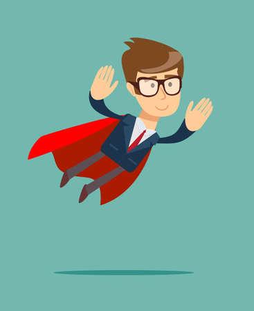 Super Businessman in a cloak of Superman. Illustration