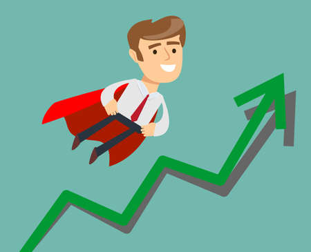 investment concept: Super businessman with growing graph. Business concept cartoon illustration.
