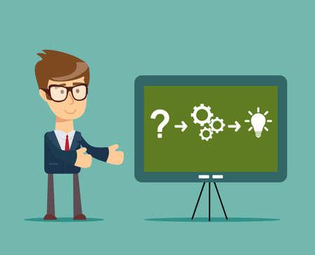 achivement: Thinking. Businessman solving a problem