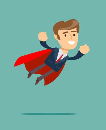 赤い表紙のスーパー ヒーローの概念のビジネスマン