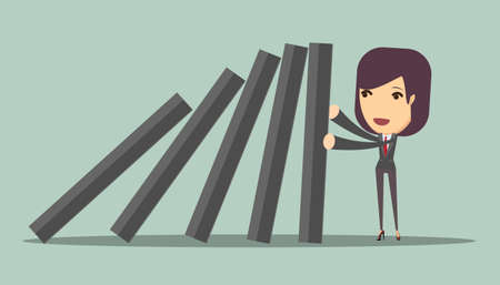 run down: businesswoman stopping the domino effect Illustration