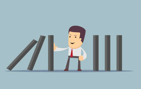 collapsing: businessman stopping the domino effect