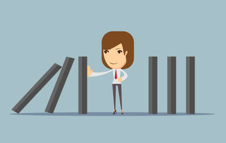 businesswoman stopping the domino effect Illustration