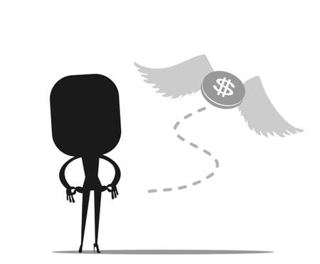 investment concept: Money is flying away from sadness business woman