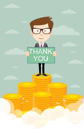 man proudly standing with thanks on the huge money