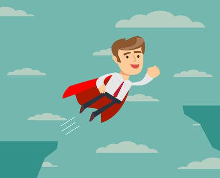 super businessman flying across the cliff Illustration