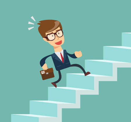 Businessman going up. Illustration