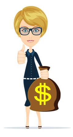 Woman holding money bag, vector Illustration