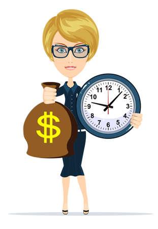 bureaucrat: Woman holding a money bag and clock