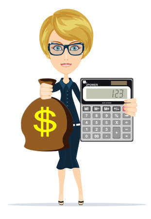 Woman holding a money bag and electronic calculator Illustration