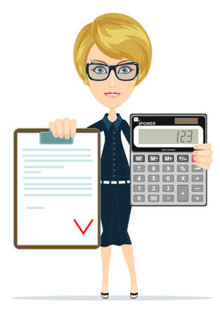 Woman holding an electronic calculator and agreement