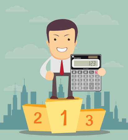 bookkeeper: Cartoon businessman or accountan stands on a pedestal and showing an electronic desktop calculator . Use as business presentation, financial report or advertisement design Illustration