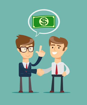 investor: Two businessmen shaking hands to seal an agreement