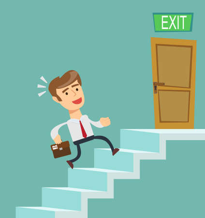 stage door: A young businessman going upstairs steadily, a closed door in the wall at the top. Concept of career growth. Stock flat vector illustration.